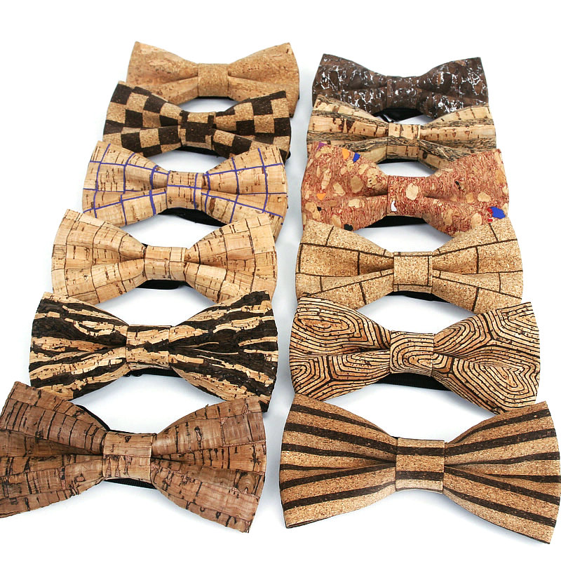 Brand New Luxury Cork Wood Men's Bow Tie Wooden Stripe Bow Ties Handmade Plaid Bowtie For Men Wedding Party Accessories Neckwear