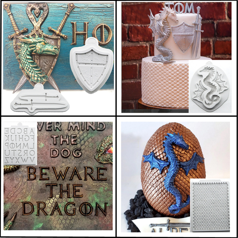 Meibum Dragon Decorating Silicone Fondant Cake Mold Shield Alphabet Swords Pattern Paste Sugar Craft Chocolate Candy Mould