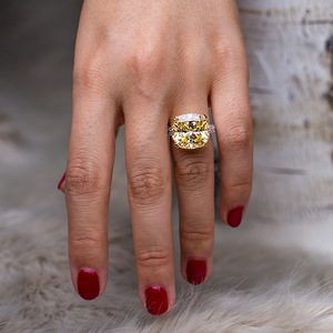 Image 5 - Pansysenチャーム100% 本物の925スターリングシルバー14*14ミリメートルシトリン宝石リング女性のための婚約記念ファインジュエリー