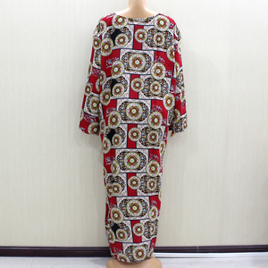 Image 2 - 2020 African Fashion Design New Arrival Red Print Cotton Material O Neck Long Sleeve Long Dess African Casual Dresses For Women