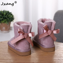 JXANG Fashion New Pretty Children Warm Girl Boy Snow Boots Winter Boots Genuine Cowhide Leather Lace up Butterfly kids shoes