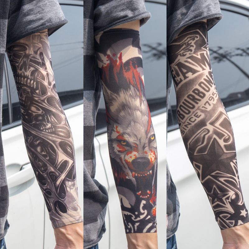 3PCS/lot New Mixed 100%Nylon Elastic Fake Temporary Tattoo Sleeve Skull Wolf Totem Dragon Designs Body Arm Stockings Cool Men