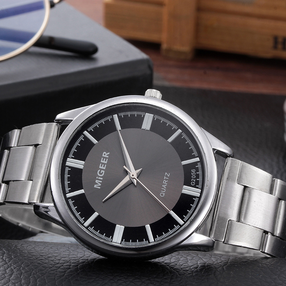 Relogio Masculino Fashion Mens Watch Men Crystal Stainless Steel Analog Quartz Wrist Watch Bracelet Clock Relogio Feminino