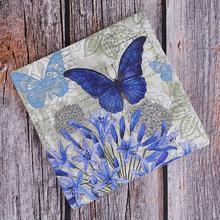 20 flor púrpura azul pañuelo de mariposa decoupage servilleta retro papel tejido boda cumpleaños fiesta X-mas servilletas Decoración