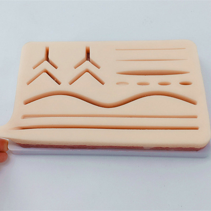 Human Anatomical Skin Large 3 Layer Suture Pad with Wounds Anatomy Skeleton Simulation Silicone Skin Wound Suture Practice Pad