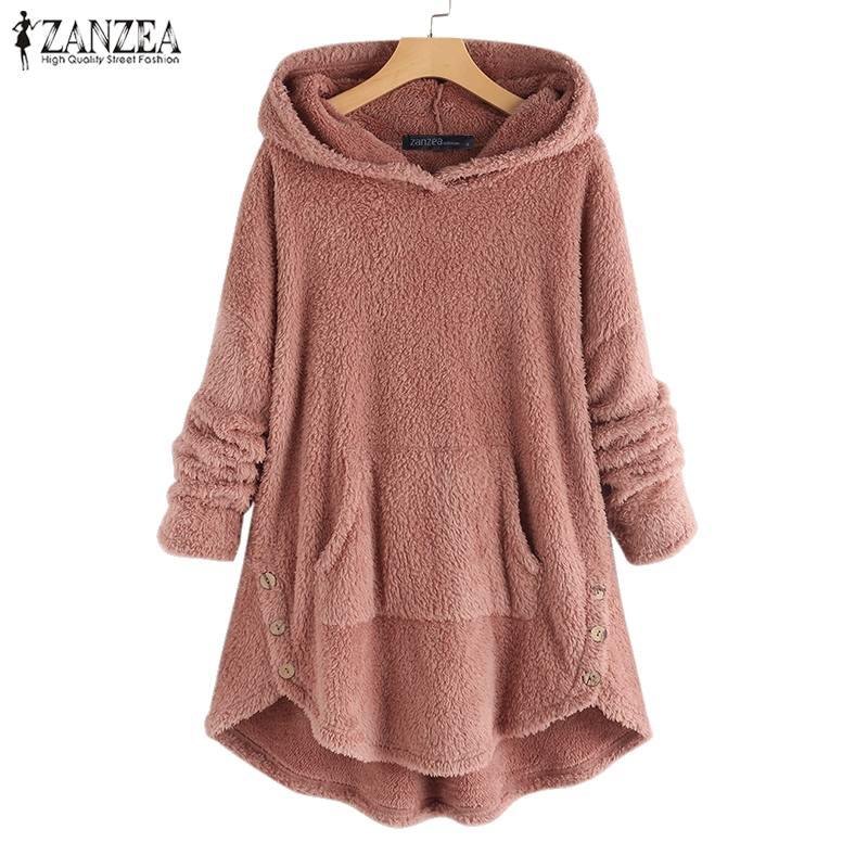 Frauen Winter Plüsch Flauschigen Sweatshirt ZANZEA Mit Kapuze Langarm Fleece Pullover Casual Solide Herbst Sweatshirts Hoodied Mantel Top7