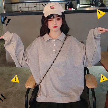 MinuoYi In Stock Spring Autumn Winter Sweatshirts Korean Solid Polo Women Shirt Loose Boyfriend Style