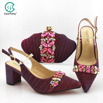 Newest Fashion Italian design Shoe and Matching Bag for Nigeria Party African Wedding Shoes and Bag Set in Magenta Color
