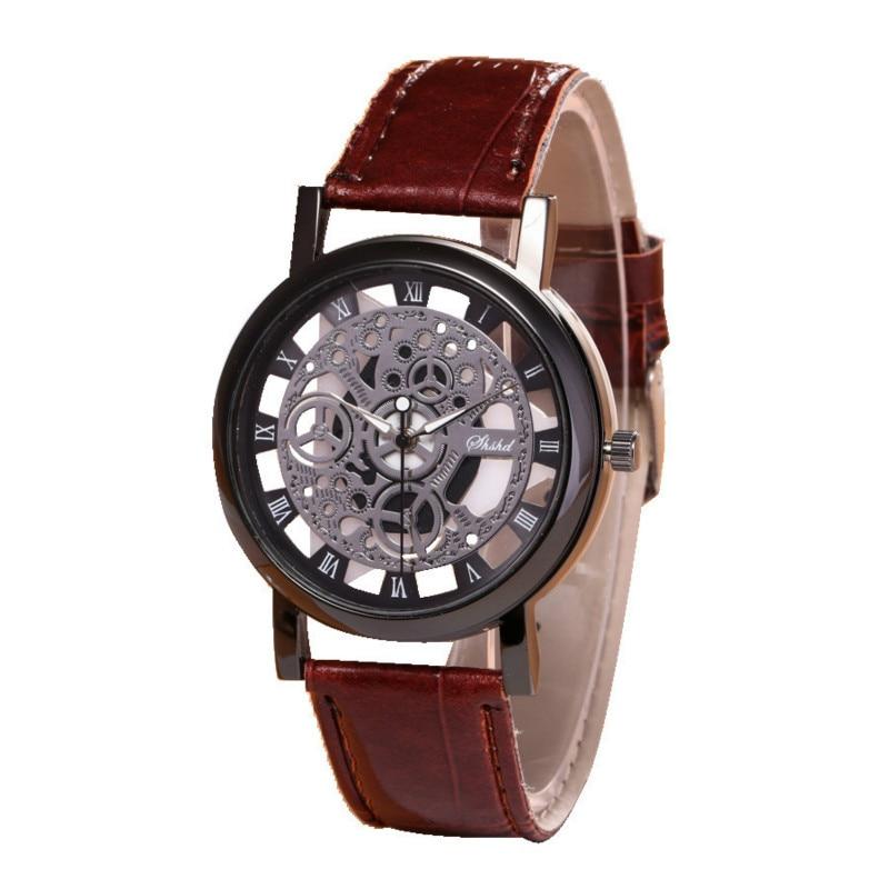 Couple Watch Boutique Fashion Hollow Belt Watch Non Mechanical Leather Strap Metal Case Watch Couple Watch Men And Women