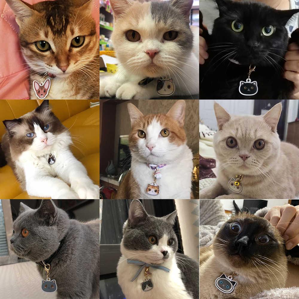 아이콘으로 개인화 된 고양이 태그 고양이를위한 수제 아크릴 ID 태그 칼라 새끼 고양이 사랑 스럽다 명찰 Pendent 애완 동물 제품