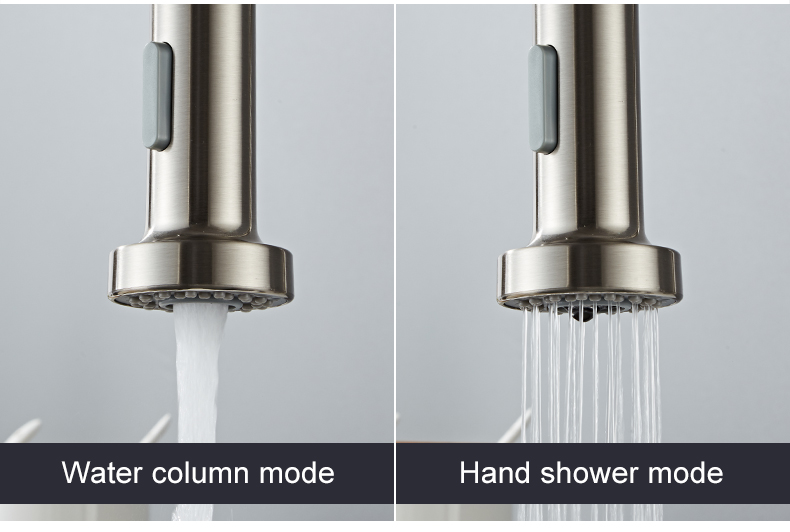 H5640463e733842c9b43f4f98f1a9cf5bO Deck Mounted Flexible Kitchen Faucets Pull Out Mixer Tap Black Hot Cold Kitchen Faucet Spring Style with Spray Mixers Taps E9009
