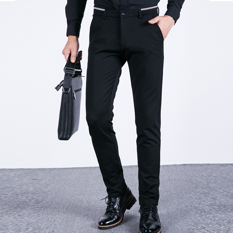 Summer Thin Section MEN'S Casual Pants Slim Fit Straight-Cut Suit Pants Men's Plus-sized Fat Pants Ultra-stretch