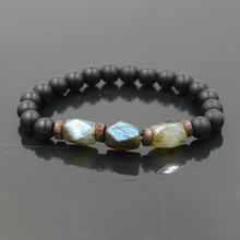 Trendy Men Bracelet Natural Moonstone Beads Bracelet Chakra Lava Stone Bracelets For Women Men Jewelry Gift Pulseira bileklik(China)