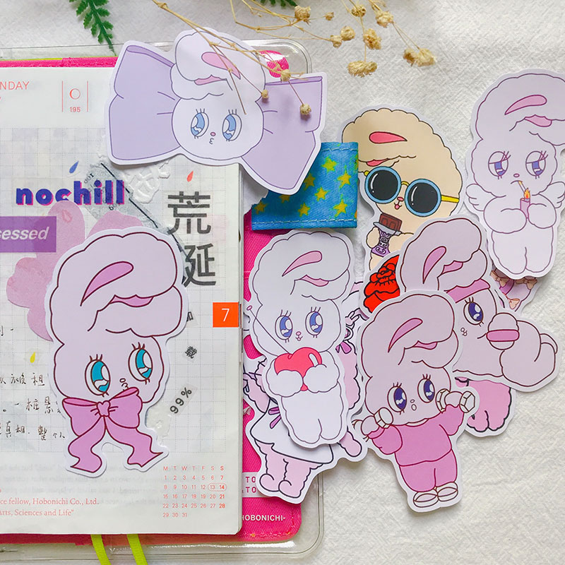 11PCS Pink Bunny Stickers Crafts And Scrapbooking Stickers Kids Toys Book Decorative Sticker DIY Stationery