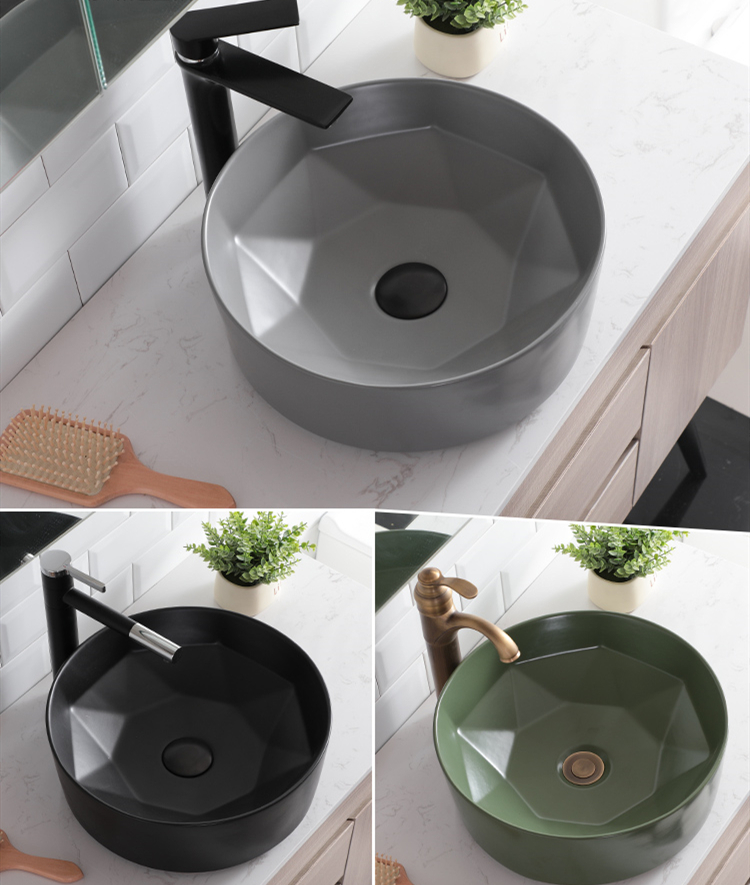 Creative Round Art Countertop Washbasin Ceramic Hand Basin Sinks Green Home Toilet Washbasin Bathroom Sink Bowls Vessel Sink