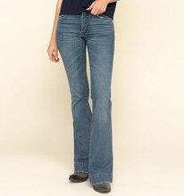 Размера плюс джинсы клеш стежка женские с высокой талией Модные