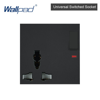 DIY EU UK Wall Socket Push Button Switch Electrical Outlet Black Function Key Only Free DIY 55*55mm S6 Series Wallpad 14