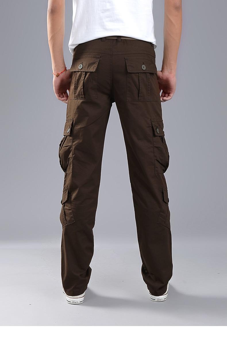 KSTUN Cargo Pants Men Combat Army Military Pants 100% Cotton 4 Colors Multi-Pockets Flexible Man Casual Trousers Overalls Plus Size 38 19