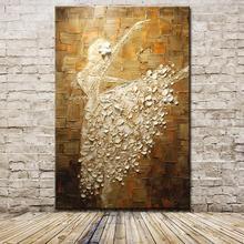 Mintura ballet dançarino imagem pintados à mão abstrata paleta faca pinturas a óleo na lona arte da parede para sala de estar decoração casa