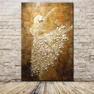 Image 1 - Mintura בלט רקדנית תמונה יד צבוע מופשט צבעים סכין ציורי שמן על בד קיר אמנות לסלון בית תפאורה