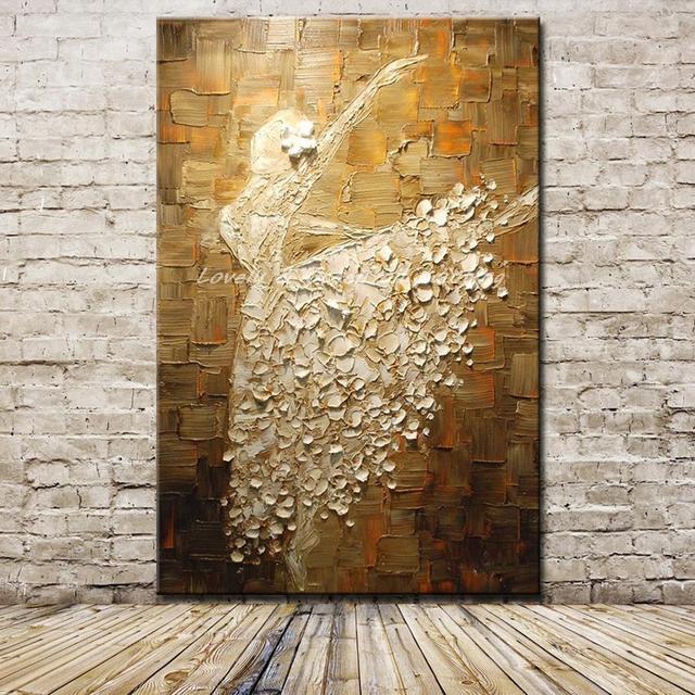 Mintura בלט רקדנית תמונה יד צבוע מופשט צבעים סכין ציורי שמן על בד קיר אמנות לסלון בית תפאורה