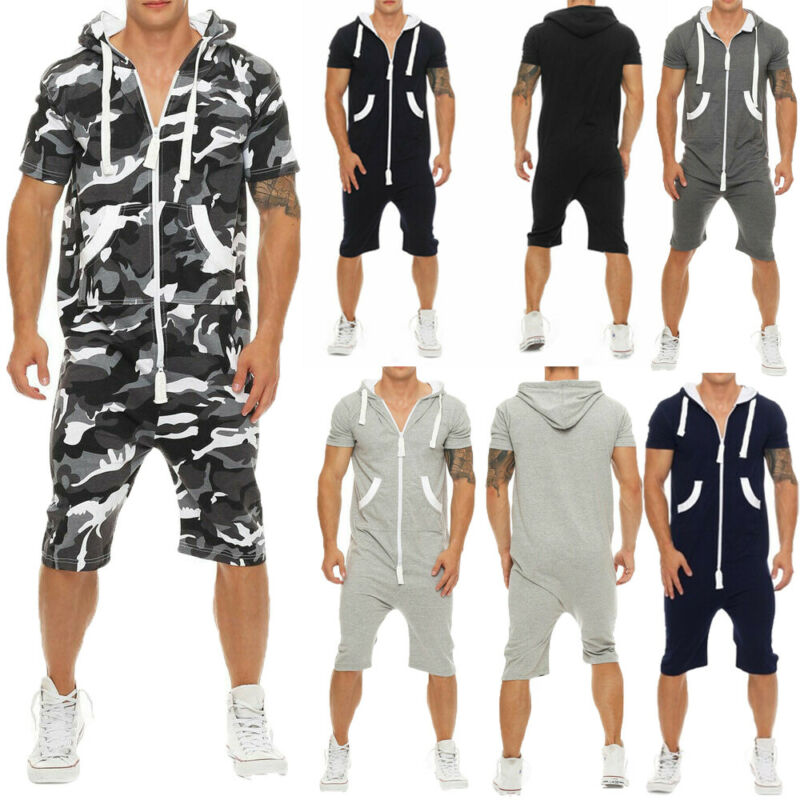 Men Jumpsuit Overalls Summer Casual Short Sleeve Pullovers Men Zipper Sportwear Overalls Shorts Romper Suit