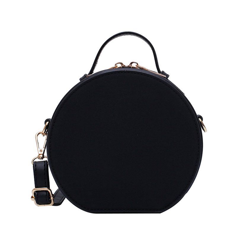 Women Shoulder Bag Fashion Ladies Messenger Bags Youth  Waterproof Handbag Round Simple Female High Quality Pu Leather Bag Black