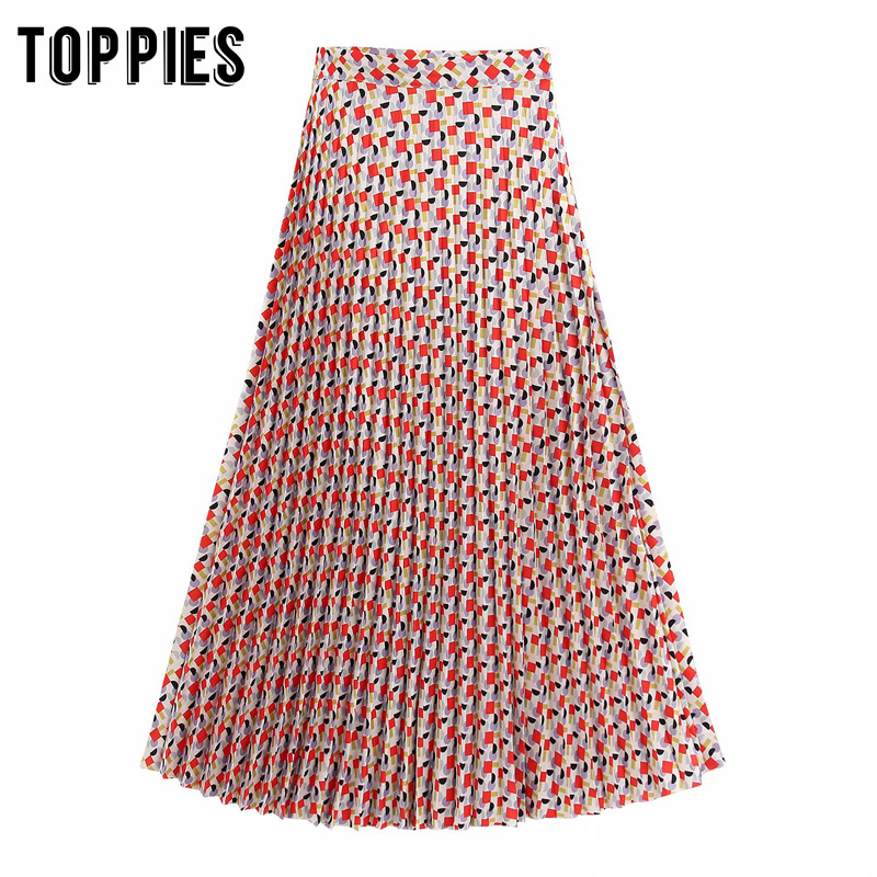 2020 Summer Pleated Skirts Plaid Printing High Waist Long Skirts Womens A-line Vestidos Streetwear