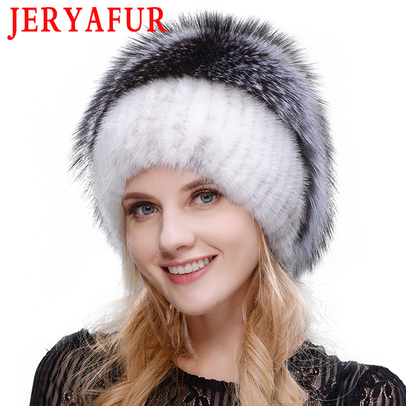 JERYAFUR 2019 Russian Knit Cap New Listing Mink And Fox Hat Real Fur Hat Cap Hat Winter Woman Ski Cap Protection Ear Free Send