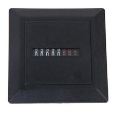 AC 220-240V Square Non-Resettable Quartz Sealed Hour Meter Gauge Black