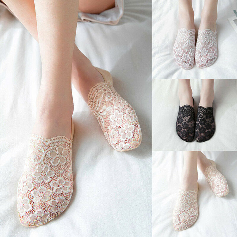 Носки-невидимки женские, прозрачные ажурные короткие кружевные носки-лодочки с цветами, Нескользящие, весна-лето