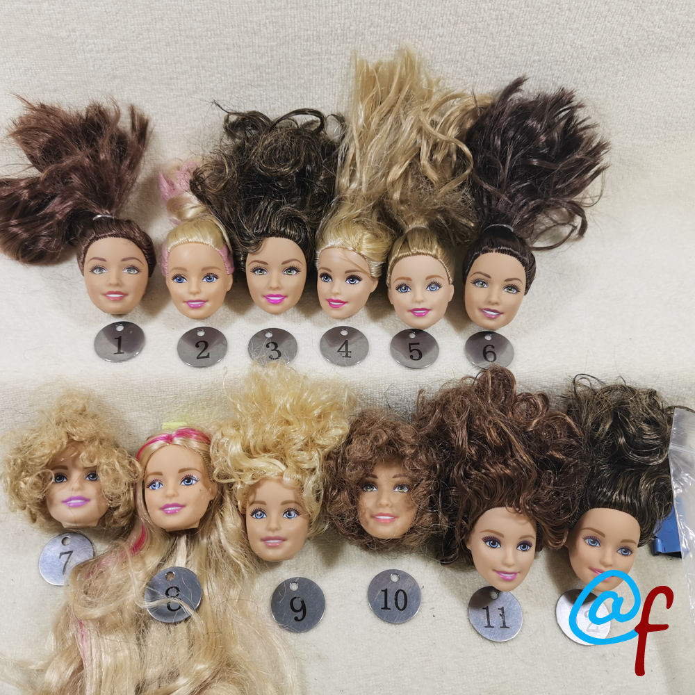 B20-18 Original Foreign Trade European Beauty1/6 OOAK NUDE Doll Head Mussed Long Hair For DIY Soft PVC Head  90%NEW