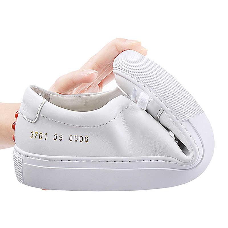 Donna-in รองเท้าผ้าใบสตรีหนังแบนต่ำส้นแพลตฟอร์มสุภาพสตรีแฟชั่น Breathable รองเท้าผู้หญิง 2019 สีขาว nude