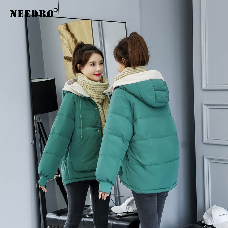 NEEDBO Winter Jacket Coat Women Outerwear Women's Down Jacket Hood Down Coat Winter Oversize Puffer Jacket Coat Lady Down Jacket