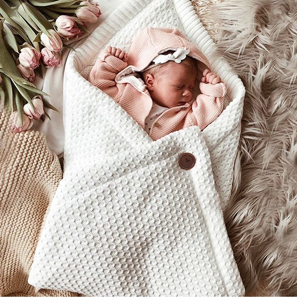 Thick Baby Swaddle Wrap Neonatal Knit Envelope Sleep Sack Foot Cover Solid Color Infant Stroller Sleeping Bag Suited Boys Girls