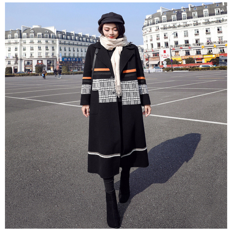 2019 New Women's Autumn And Winter Large Size Long Woolen Coat Female Stitching Hit Color Houndstooth Over The Knees Woolen Coat