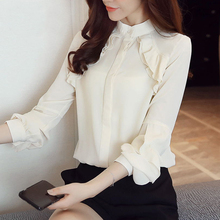 Chiffon Shirt New Fall Office Women Tops 2019 Ruffle Blouses Shirts Loose Long Sleeve Fashion White shirt 882J