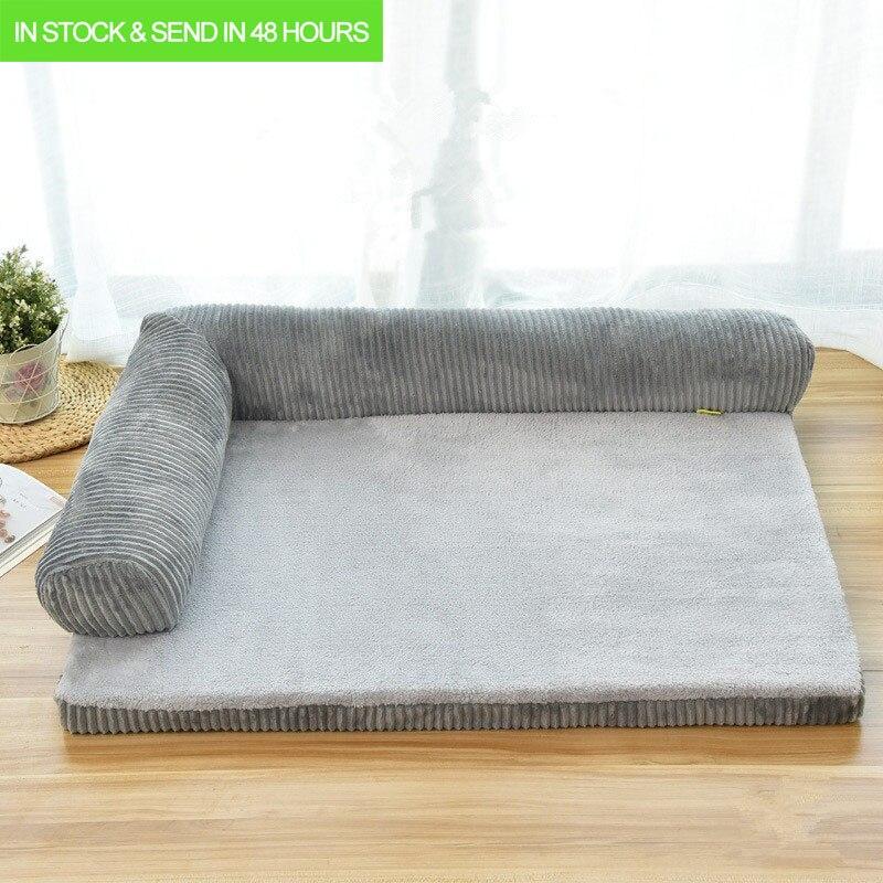 Luxo grande cama do cão sofá cão gato pet coxim para cães grandes lavável ninho gato filhote de cachorro de pelúcia esteira canil quadrado travesseiro casa