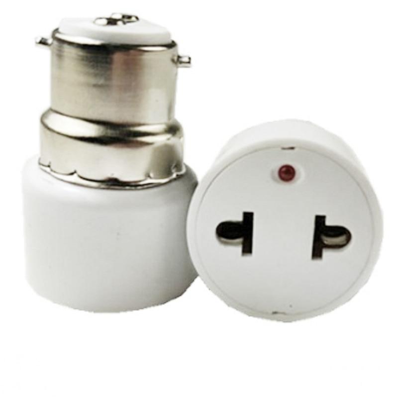 B22 Bulb Adapter Light Socket Lamp Holder To US Plug Converter For Home Fluorescent Lamps LED Bulbs Lights Conversion 2P Plug