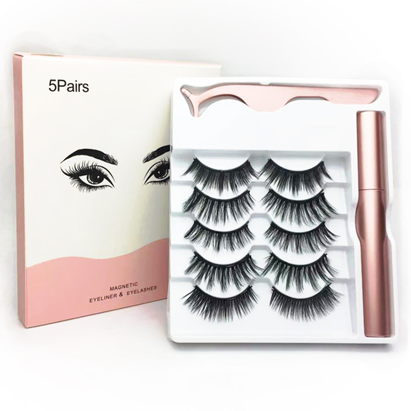 3D 5 Pairs <font><b>Magnetic</b></font> <font><b>Eyelashes</b></font> <font><b>And</b></font> <font><b>Eyeliner</b></font> <font><b>Set</b></font> Natural/Thick Long Wispy Mink Lashes With 5 Magnets False <font><b>Eyelashes</b></font> Makeup <font><b>Set</b></font> image