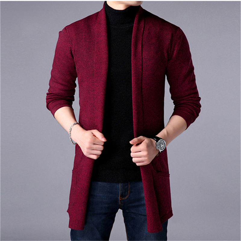 2020 new Free shipping spring autumn mens clothes mens long cardigan knitted solid color casual slim sweater coat jacket