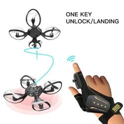 KaKBeir 2020 nowe oryginalne W606 16 rękawice Valcano sterowanie interaktywne Mini Drone Quadcopter Wifi FPV 480P kamera do zdalnie sterowanego helikoptera|Helikoptery RC|Zabawki i hobby -