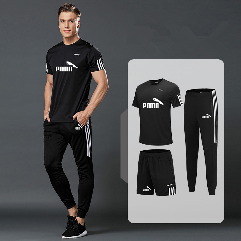New men's sportswear 2020 summer 3-piece suit men's short-sleeved T-shirt top + shorts +casual sports trousers suit gym running