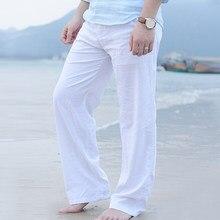 Masculino solto em linha reta calças longas primavera verão moda algodão linho lazer praia estilo elástico cintura calças mais tamanho M-3XL
