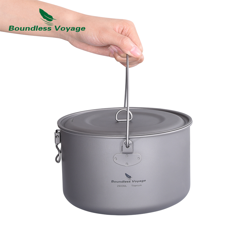 Boundless Voyage Titanium Pot Camping Cookware 1.3L/1.95L/2.9L Lightweight Outdoor Kitchen Hanging Bowl Cooking Kit with Lid
