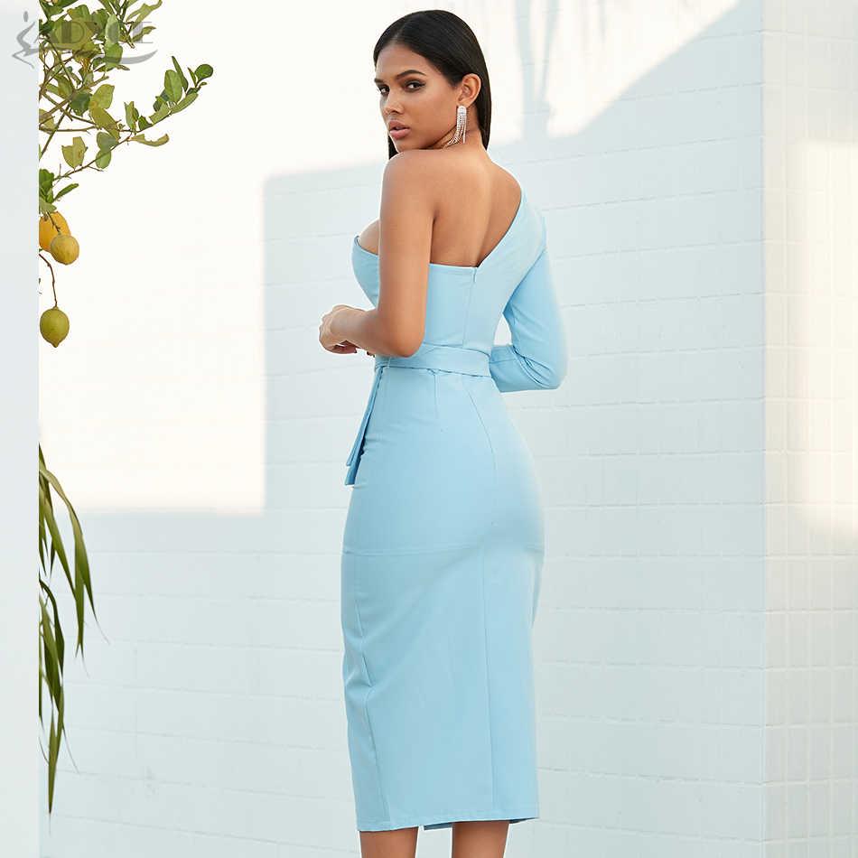 Adyce 2020 Mới Thu Đông Nữ Túi 1 Người Nổi Tiếng Trang Phục Dạ Hội Đầm Vestido Sexy Màu Xanh Dây Tất Tay Dài Câu Lạc Bộ Đầm