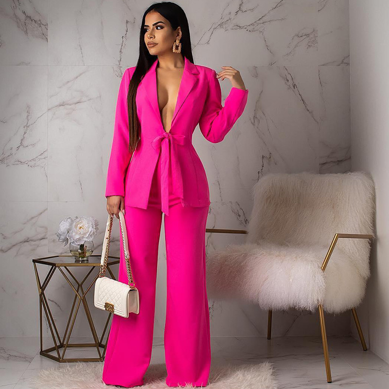 Women's Office Lady Two Piece Sets Sexy Notched Collar Bow Tie Up Blazer Coat And Wide Leg Pants Elegant Business Pant Suits