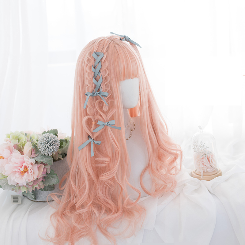 Harajuku Style Lolita Cosplay Wigs High-temperature Fiber Synthetic Hair Pink Long Loose Wave Curly Hair+free Wig Net