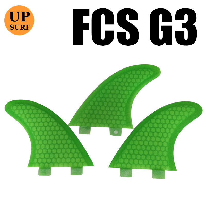 Heavy discount FCS G3 thruster fins Green color Lose money promotion firberglass surfboard 3pcs per sets