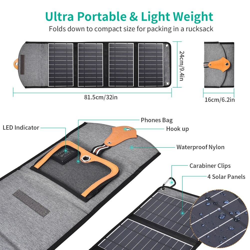 Choetech 5 v/2.4a painel solar 22 w para o iphone 11/x/xs dispositivos de saída usb painéis solares impermeáveis portáteis para a bateria do telefone de huawei - 4